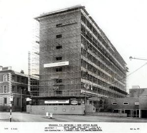 Scaffolding on GTV during construction 1960.